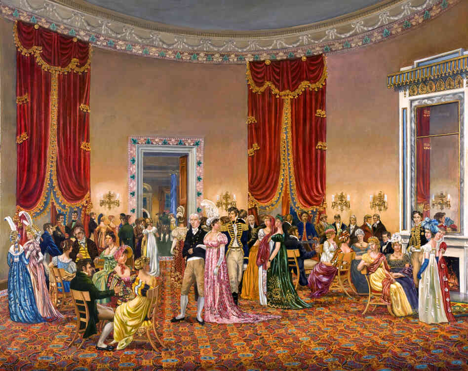 "In The Splendid Mrs. Madison, Waddell depicts First Lady Dolley Madison's drawing room, circa 1810–1814. Benjamin H. Latrobe designed the space — but wasn't happy with the curtains: ""Oh the terrible velvet curtains!"" he wrote. ""Their effect will ruin me entirely so brilliant they will be."" Click here to explore the painting."