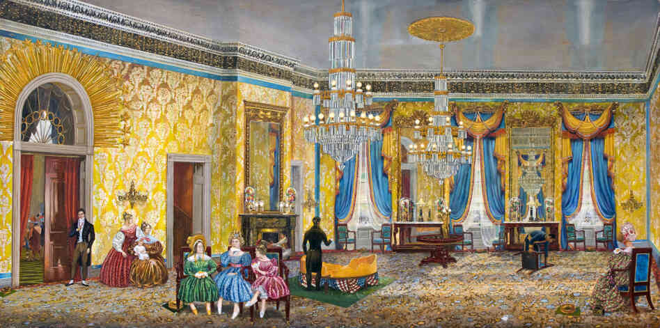 In 1837, President Andrew Jackson invited guests to the White House to eat a 1,400-lb round of cheese, which he'd been given as a gift. It was devoured in just two hours. Peter Waddell imagines the scene at the end of the party in The Great Cheese: Jacksonian Democracy Enjoys a Special Treat. Click here to explore the painting.