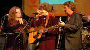 Pioneering folk singer Hazel Dickens, center, performs with Mollie and Tim O'Brien in 1997. Dickens died on Friday, April 22, at the age of 75.