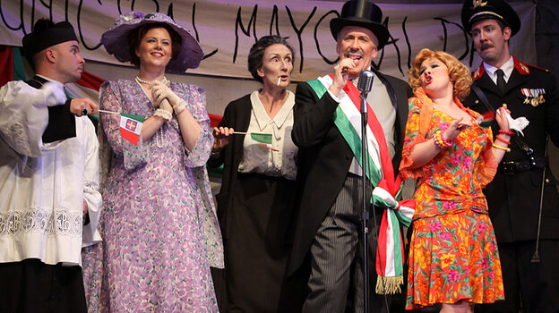 Cast members from The Inspector, a new comic opera by John Musto that debuted last night at Wolf Trap.