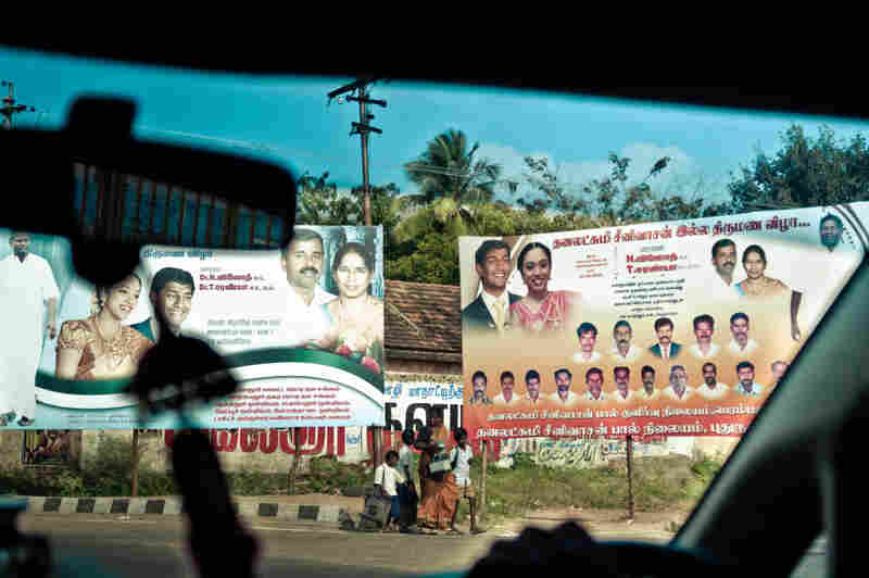 Billboards serve as wedding invitations in the town of Tamil Nadu.