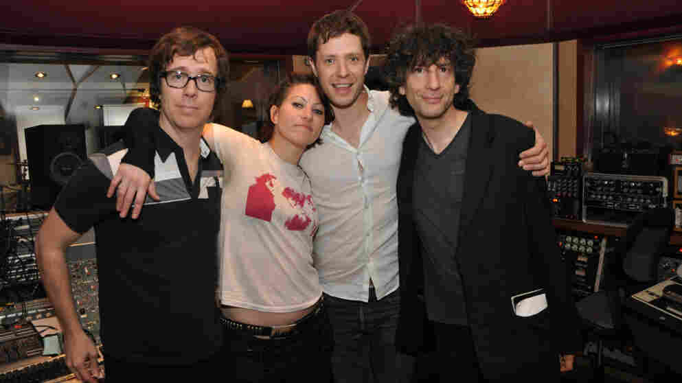 The four who tried to write and record eight songs in eight hours: Ben Folds, Amanda Palmer, Damian Kulash and Neil Gaiman.