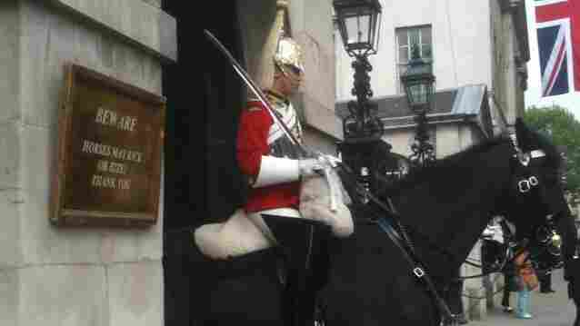 """Near the Horse Guards Arch in central London. """"Horses May Kick Or Bite. Thank You."""" No, sign. Thank you."""