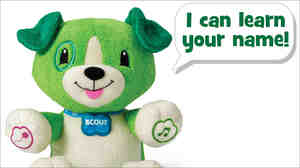 LeapFrog's My Pal Scout can be programmed to say a child's name by plugging it into an online database. LeapFrog only records new names after three people have requested it.