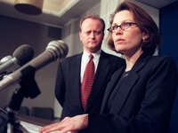 Then-state Sen. Michele Bachmann, shown with state Sen. Warren Limmer in 2001. As a state senator, Bachmann was known for taking stands on controversial cultural issues, like abortion and gay marriage.
