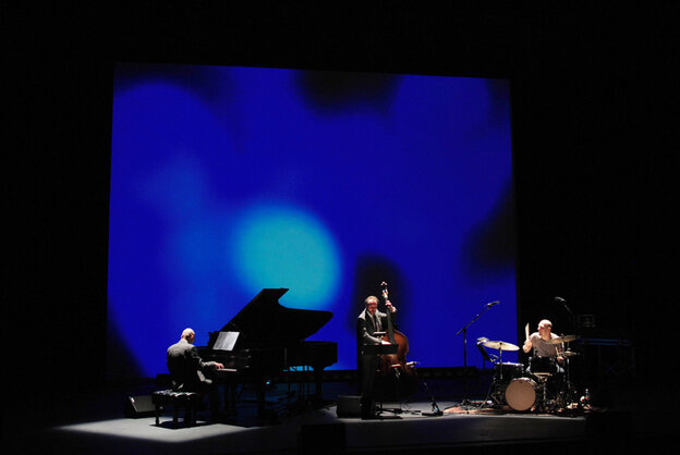 The Bad Plus plays its take on The Rite of Spring at Duke Performances, backed by a multimedia backdrop created by architect Cristina Guadalupe and filmmaker Noah Hutton.