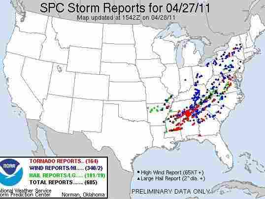 "The National Weather Service's ""Storm Prediction Center Storm Reports"" for Wednesday (April 27, 2011)."