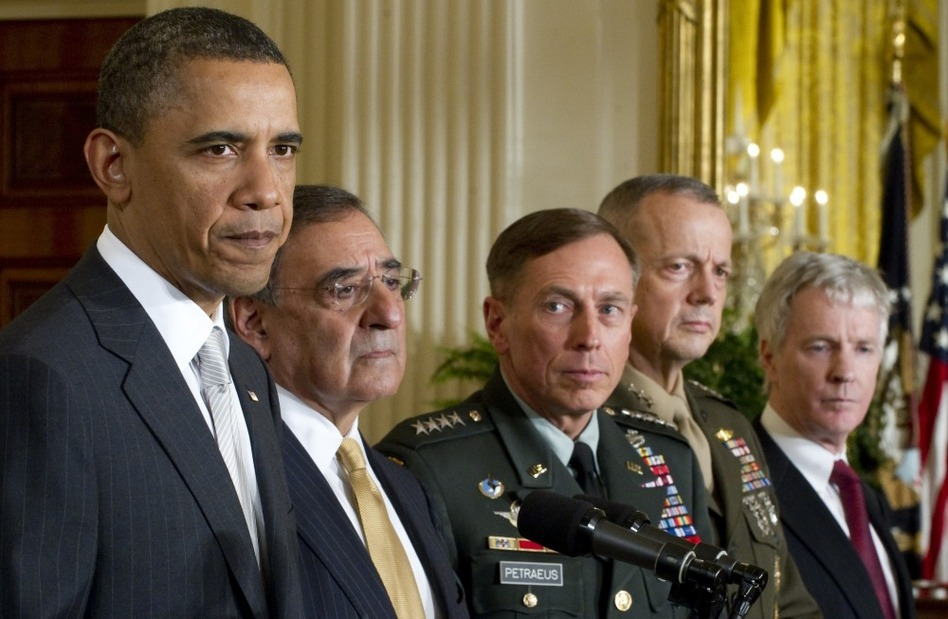 US President Barack Obama announces that he will nominate (from left to right) Leon Panetta as Secretary of Defense; General David Petraeus as the next director of the CIA; General John Allen as commander for U.S. forces in Afghanistan, and Ryan Crocker as the U.S. ambassador to Afghanistan.