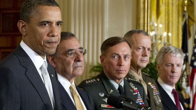 US President Barack Obama announces that he will nominate (from left to right) Leon Panetta as Secretary of Defense; General David Petraeus as the next director of the CIA; General John Allen as commander for U.S. forces in Afghanistan, and Ryan Crocker as the U.S. ambassador to Afghanistan. (AFP/Getty Images)
