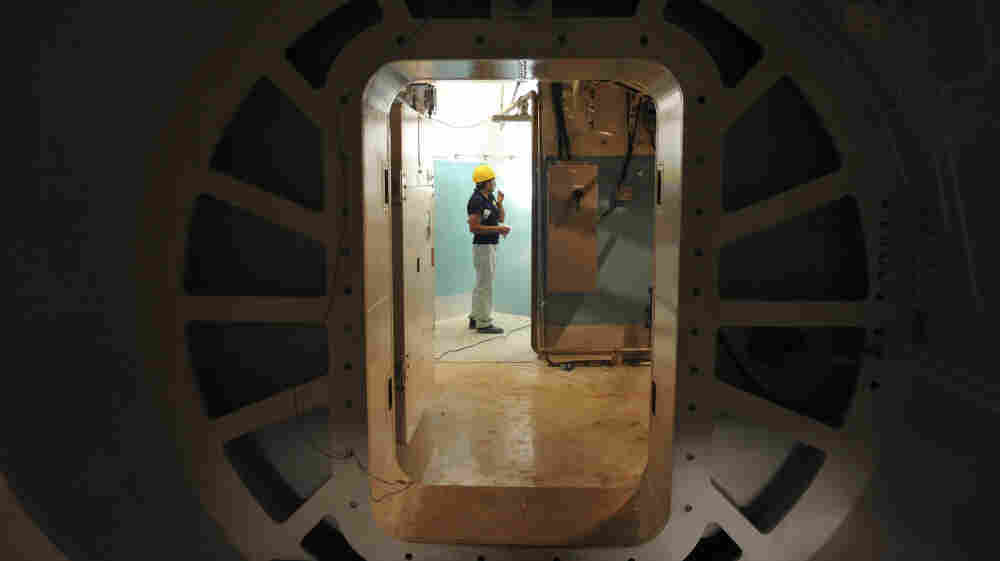 A photo taken on Aug. 22, 2010, and released by the International Iran Photo Agency shows a worker standing at the entrance of the reactor of Bushehr nuclear power plant, outside the southern city of Bushehr, Iran. Work was stopped on the reactor to ascertain whether it had been affected by the Stuxnet computer virus — apparently developed in Israel with the help of the CIA.
