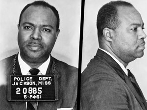This May 24, 1961, photo provided by the Mississippi Department of Archives and History shows the booking photos of civil rights activist James Farmer,