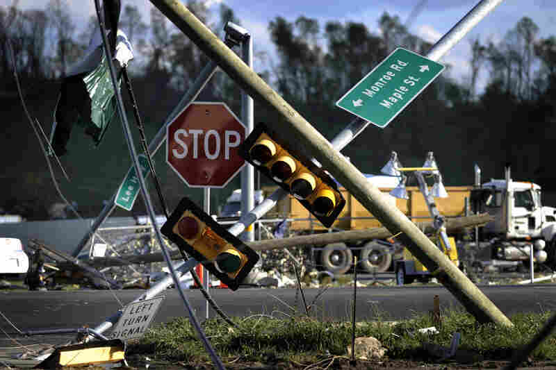 Downed traffic lights are seen near I-81 following a tornado in Glade Spring, Va. Several homes and truck-stops along I-81 were severly damaged.