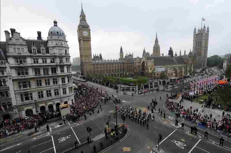 Military bands play in Parliament Square before the wedding.