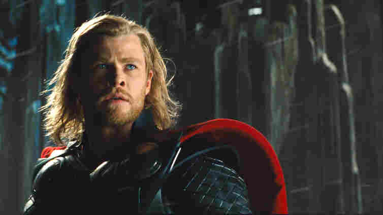 Comic relief: Chris Hemsworth fits the strapping, swaggering, hammer-toting bill as a god who's a little clueless when it comes to fitting in on Earth.