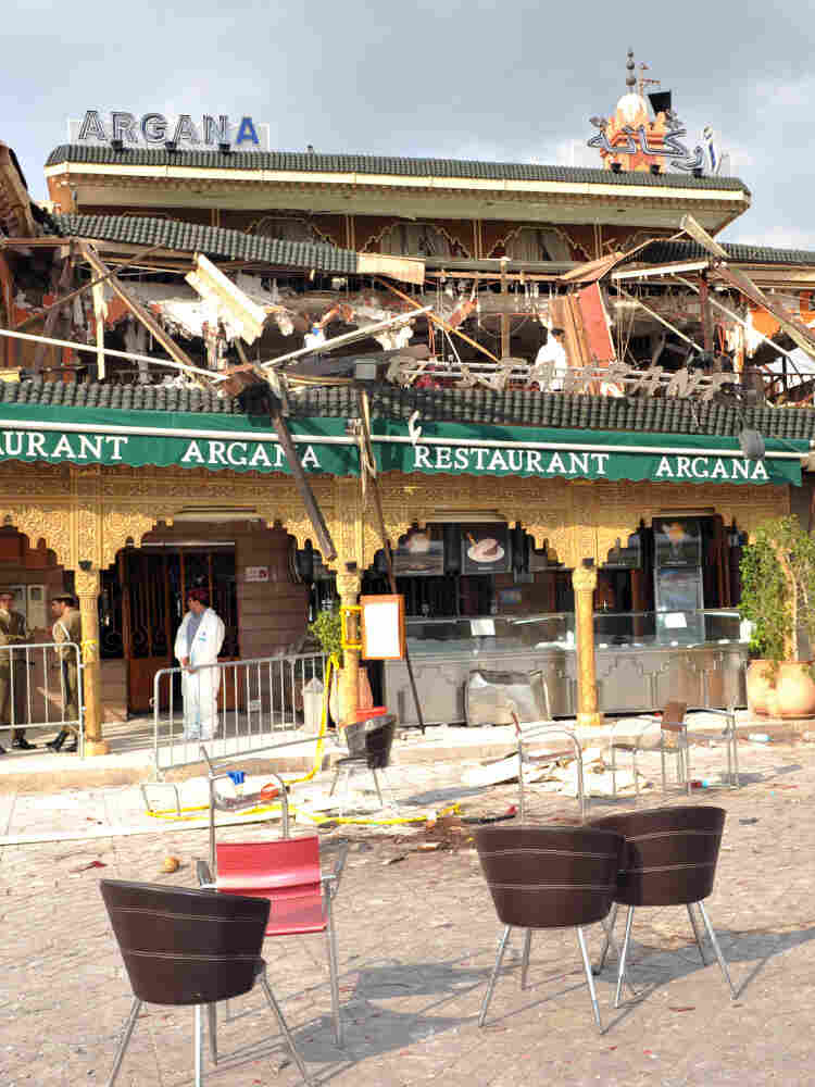 The rubble of the Argana restaurant in Marrakech, seen on April 28, 2011.