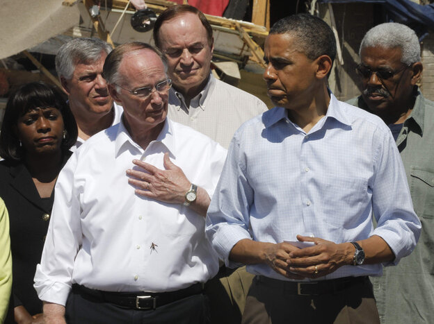 President Obama with Alabama Gov. Robert Bentley, Sen. Richard Shelby (center rear) and other officials, April 29, 2011.