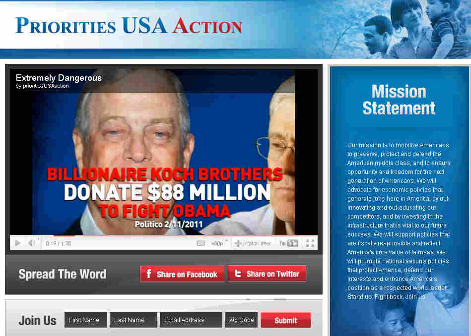 Screenshot of Priorities USA web page.