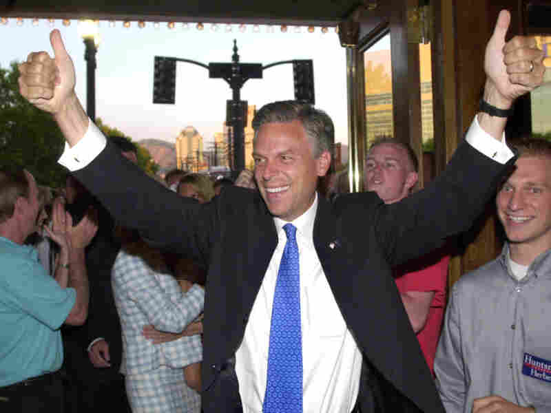 Huntsman arrives at his campaign party during the Republican gubernatorial primary on June 22, 2004, in Salt Lake City.