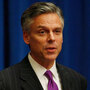 Jon Huntsman, the outgoing U.S. ambassador to China, briefs reporters in November 2009. If Huntsman joins the field of presidential candidates, he may have a difficult time explaining to Republican primary voters why he worked for a Democratic president