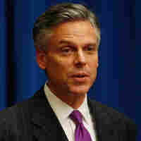 Jon Huntsman, the outgoing U.S. ambassador to China, briefs reporters in November 2009. If Huntsman joins the field of presidential candidates, he may have a difficult time explaining to Republican primary voters why he worked for a Democratic president.