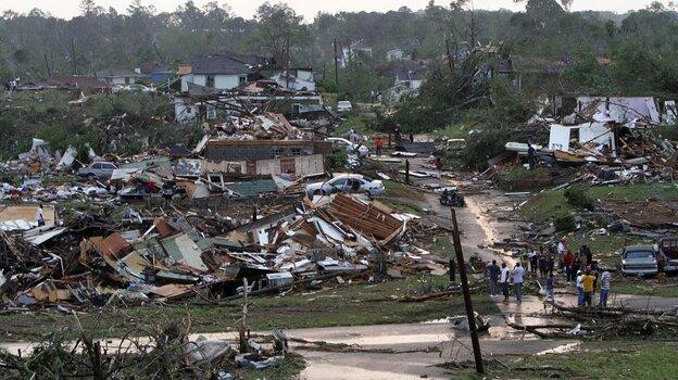 Residents survey the destruction after a tornado hit Pratt City, Ala., on April 27. Short-term fo