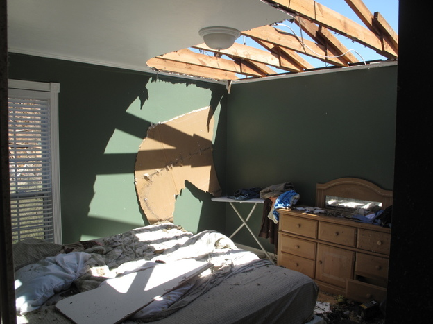 Sunlight floods a bedroom in Phillip Farley's home.