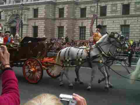 Part of Kate Middleton, Prince William, and mostly the horses roll by the royal wedding crowds.