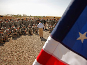 Defense Secretary Robert Gates talks with troops during a visit April 7 at Camp Victory in Baghdad.