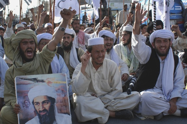 Supporters of Pakistani religious party Jamiat Ulema-e-Islam in Quetta, Pakistan, rally to condemn the killing of Osama bin Laden on Monday.  (AP)