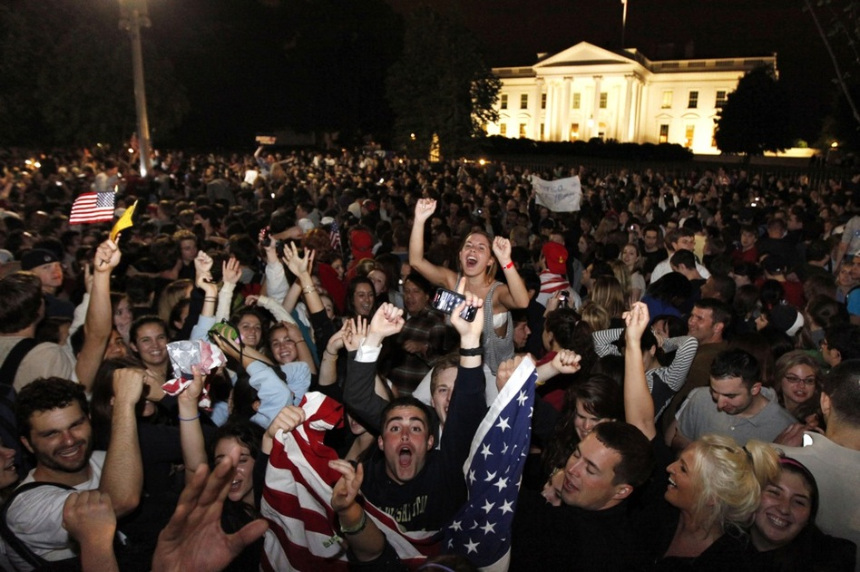 Crowds gather outside the White House early Monday to celebrate after President Obama announced bin Laden's death.  (AP)