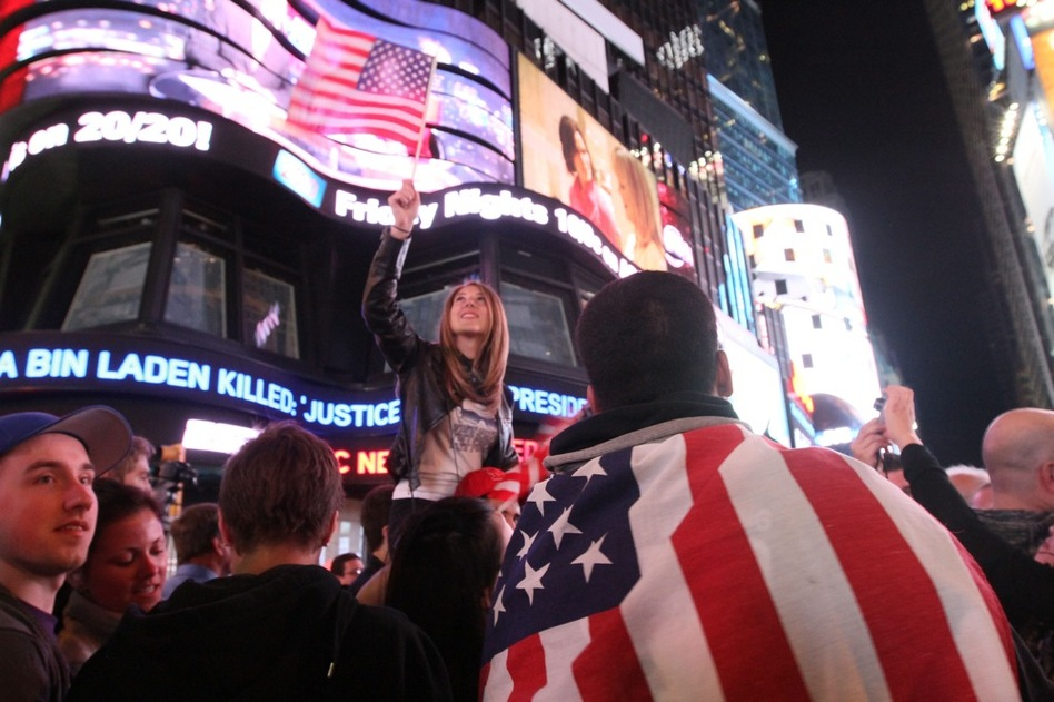 Thousands poured into New York's Times Square when they heard the news.  (AP)