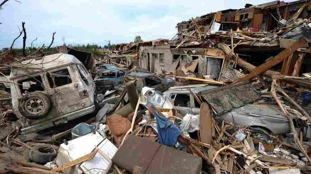 Tornado wreckage in the Alberta City neighborhood of Tuscaloosa, Alabama