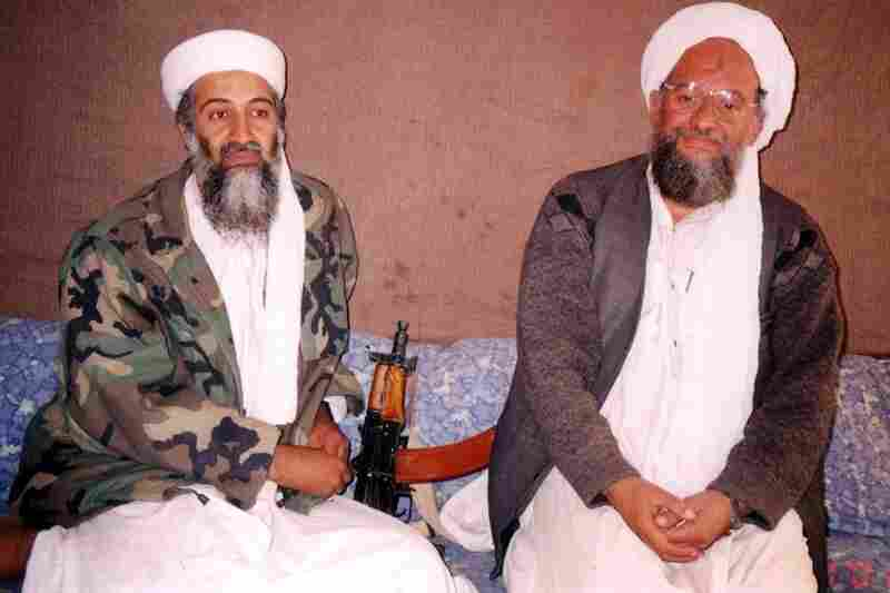 President George W. Bush demanded, to no avail, that Afghanistan's Taliban government turn over bin Laden or face war. In early October 2001, U.S. forces began striking Afghan targets. Bin Laden (left) sits with top adviser Ayman al-Zawahiri during an interview with a Pakistani journalist at an undisclosed location in Afghanistan that was published Nov. 10, 2001.