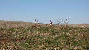 A makeshift memorial at the Flight 93 crash site