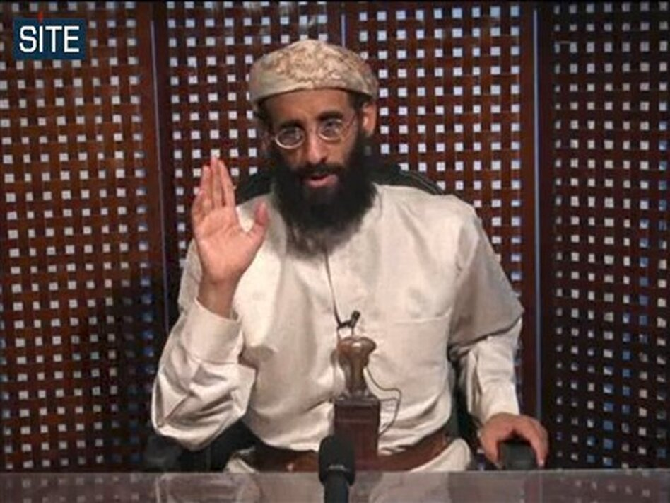 U.S.-born cleric Anwar al-Awlaki, in an image released by the SITE Intelligence Group in November 2010.