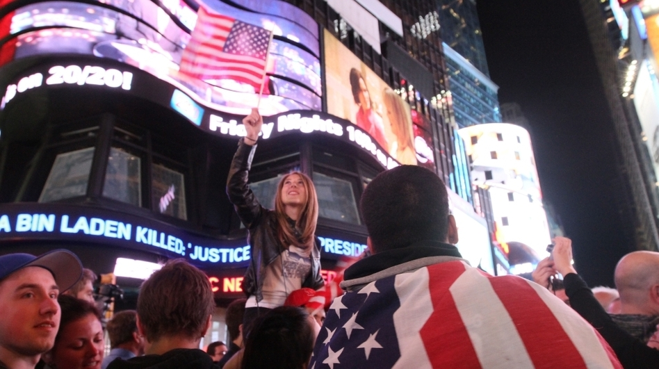 Thousands poured into New York's Times Square when they heard the news of bin Laden's death. (AP)