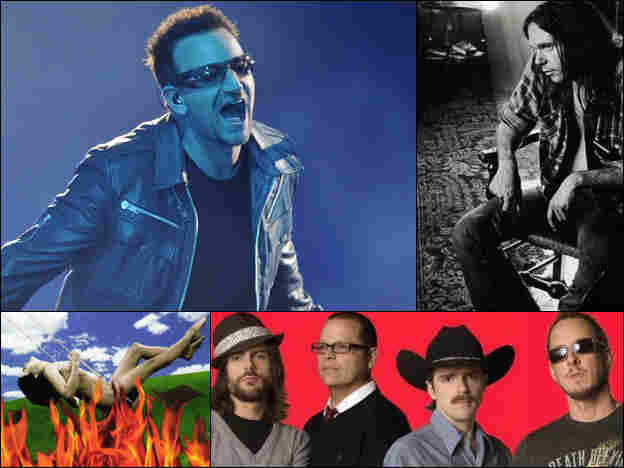 Clockwise from top left: U2, Neil Young, Weezer, Paula Cole.