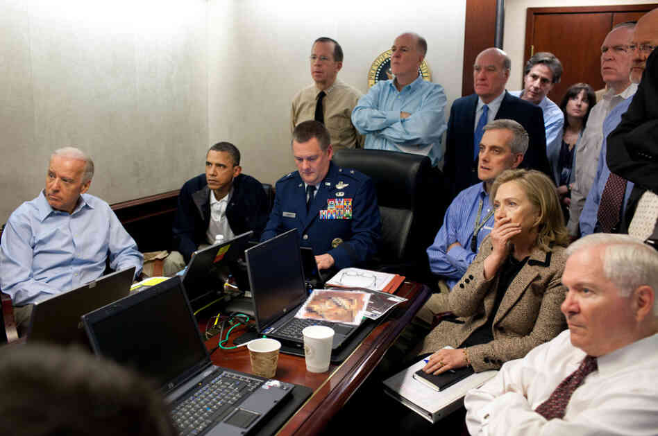 President Obama, Vice President Biden and their national security team follow in real-time from the White House Situation Room the mission to get Osama bin Laden, May 1, 2011. (Note: A classified document in this photograph was intentionally obscured.)