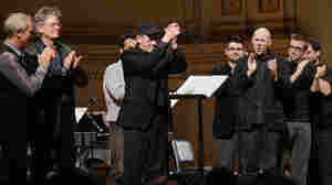 Steve Reich takes a bow at his 75th birthday concert at Carnegie Hall alongside members of the Kronos Quartet and So Percussion.