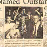 A newspaper clipping from 1966 announces Mitch Daniels (second from left) as the recipient of the Graham Award, presented to the most outstanding citizen at Hoosier Boys State at Indiana University.