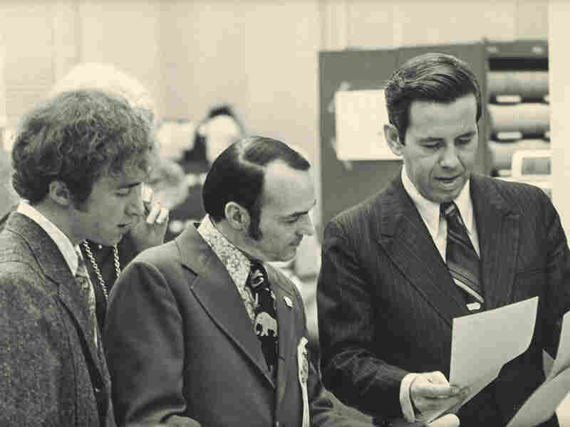 One of Mitch Daniels' first jobs in politics was on the staff of then-Indianapolis Mayor Richard Lugar. Here, Daniels (left) is working with Lugar (right) as an aide in 1971.