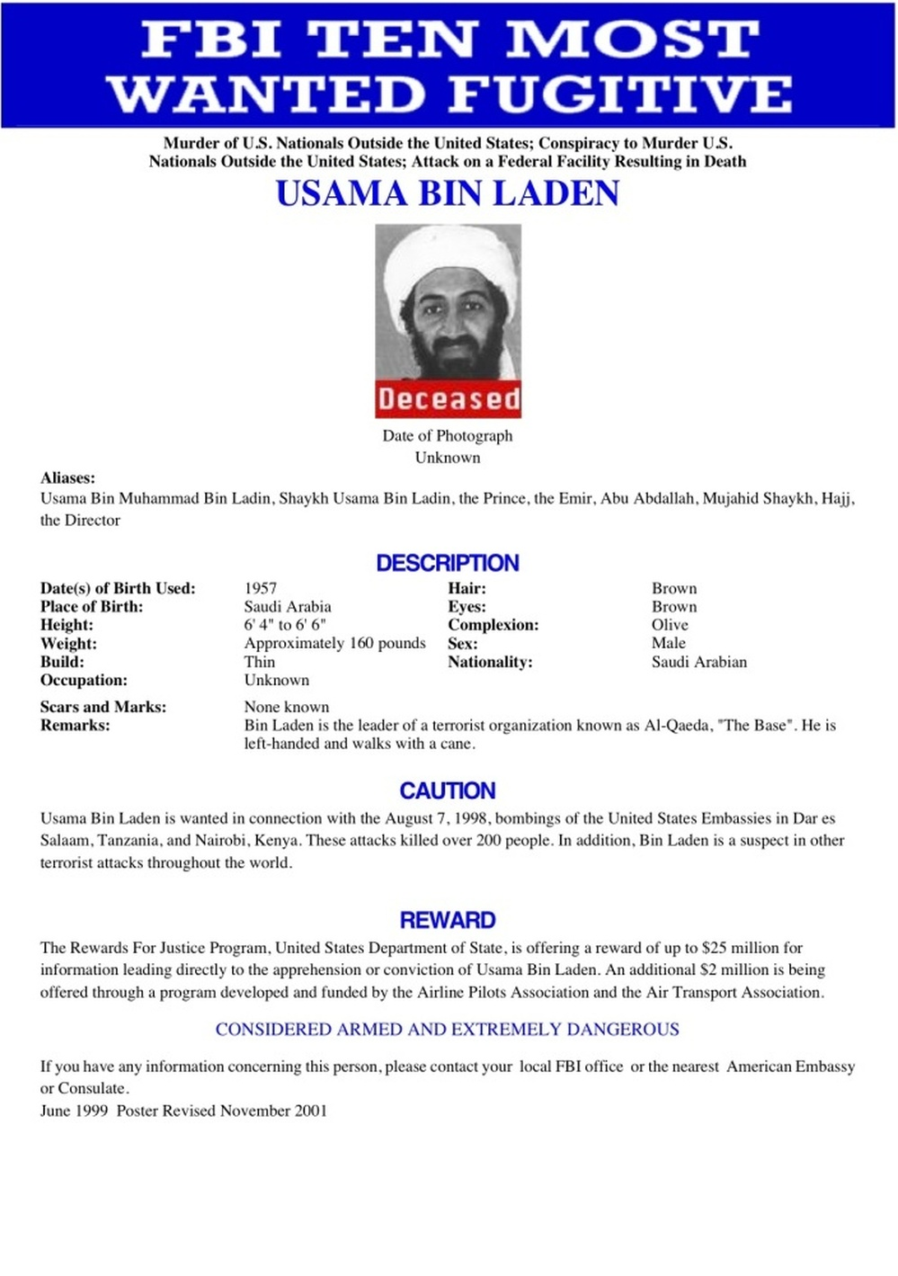 The FBI's Most Wanted poster for Osama bin Laden.