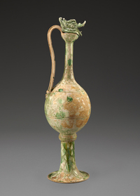A ewer made of glazed stoneware and thought to have originated in China's Henan province between the years 825 and 850 was among the items found on the sunken ship in Indonesia.