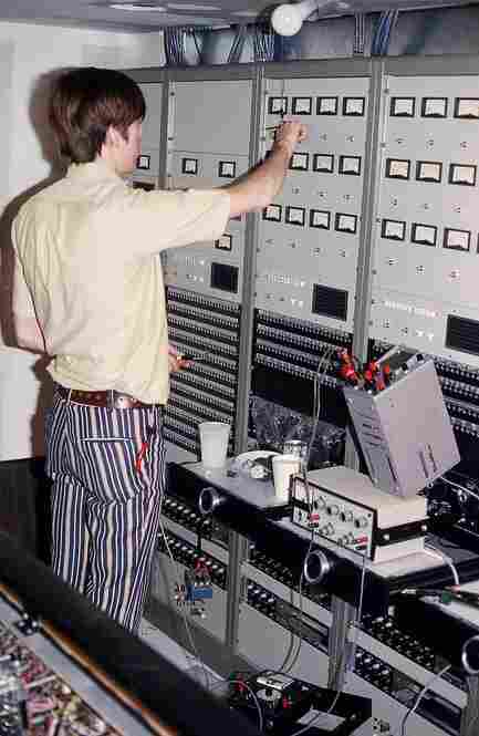 Bruce Wahl built NPR's first Master Control, seen here still in the construction phase in 1972.