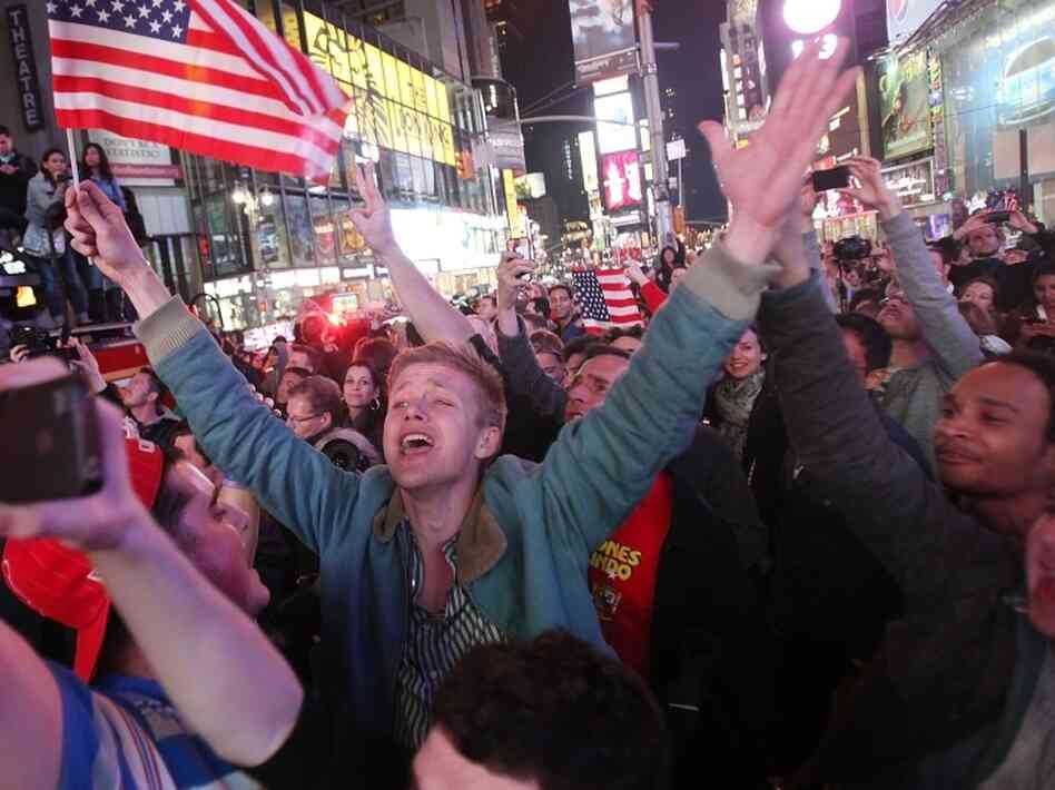 Crows of people celebrate in Times Square after the death of Osama bin Laden. A U.S. operation killed the Sept. 11 mastermind outside Islamabad.