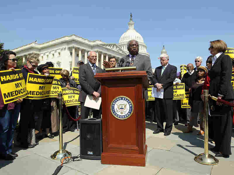 Assistant House Minority Leader Rep. James Clyburn (D-SC) speaks at a news conference on Capitol Hill in April.  House Democrats called on the Republicans not to end Medicare.