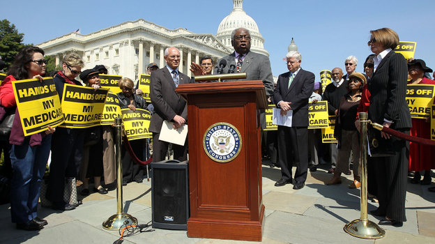 Assistant House Minority Leader Rep. James Clyburn (D-SC) speaks at a news conference on Capitol Hill in April.  House Democrats called on the Republicans not to end Medicare. (Getty Images)