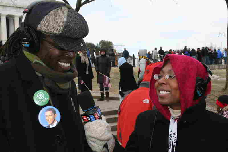 National Desk reporter Audie Cornish reporting from the National Mall during the 2009 inauguration of Barack Obama.
