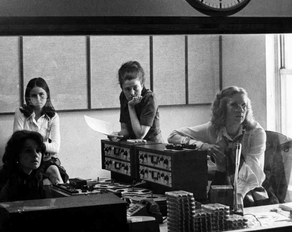 This 1972 photo was taken in the first All Things Considered studio. From left: Renee Chaney, Kati Marton, Linda Wertheimer (ATC's first director), and Kris Mortensen.