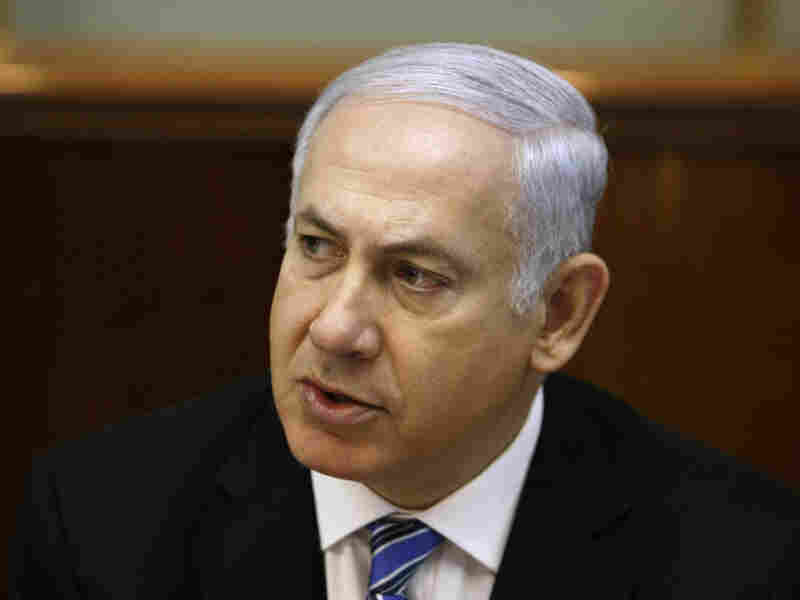 The government of Israeli Prime Minister Benjamin Netanyahu, seen here during a Cabinet meeting on May 1, says it will withhold the transfer of $90 million in tax funds and customs fees for the Palestinian Authority. The move comes after news of a reconciliation deal between two key rival Palestinian factions.